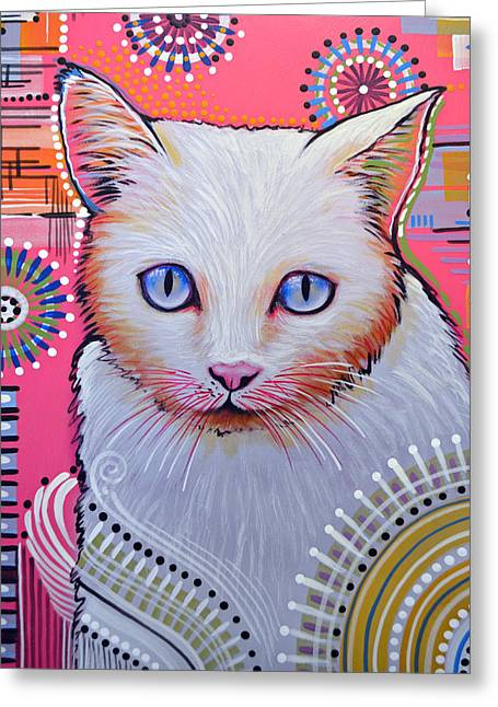 Abstract Cat Art Painting ... Slinky Greeting Card by Amy Giacomelli