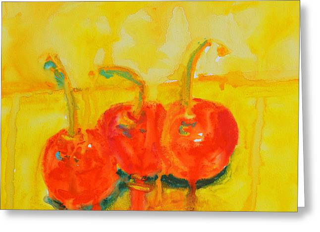 Abstract Cherries Modern Art Greeting Card by Patricia Awapara