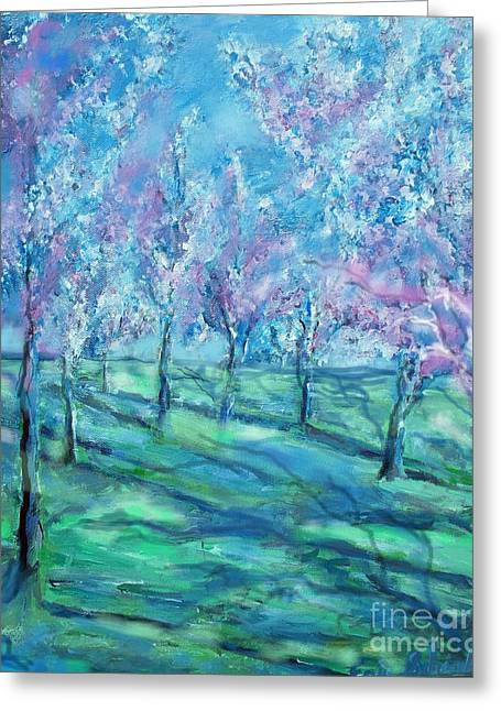 Abstract Cherry Trees Greeting Card by Eric  Schiabor