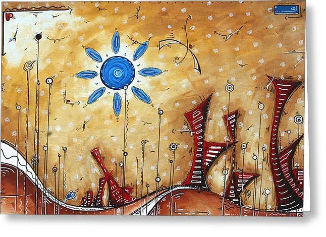 Abstract City Cityscape Contemporary Art Original Painting The Lost City By Madart Greeting Card