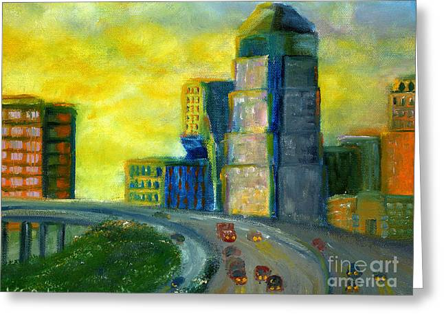 Abstract City Downtown Shreveport Louisiana Greeting Card