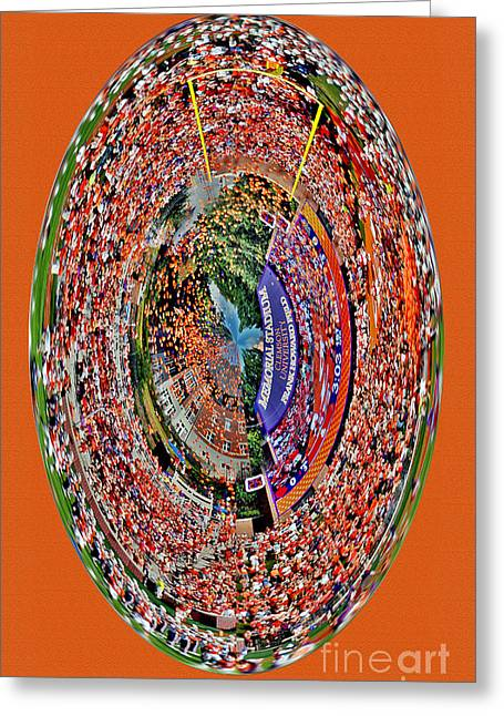 Abstract Clemson Stadium Iphone Case Greeting Card by Jeff McJunkin