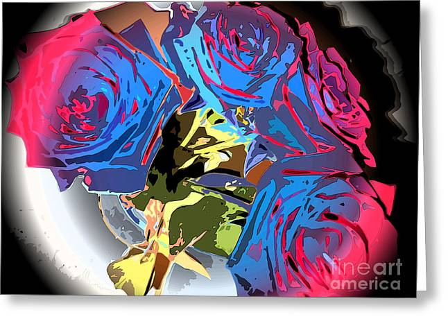 Abstract Cluster Of Roses Greeting Card by Minding My  Visions by Adri and Ray