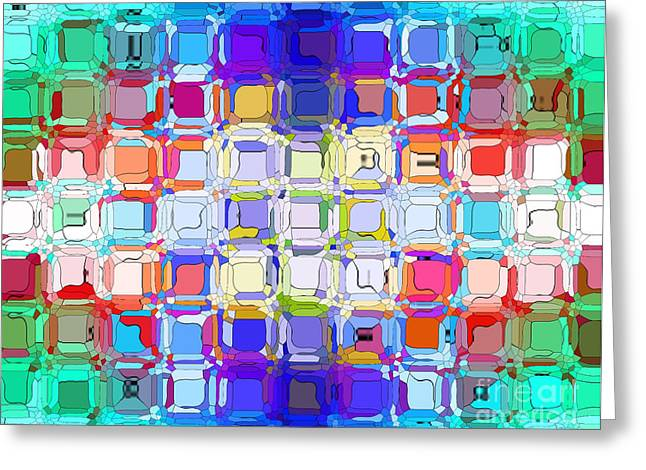 Greeting Card featuring the digital art Abstract Color Blocks by Anita Lewis