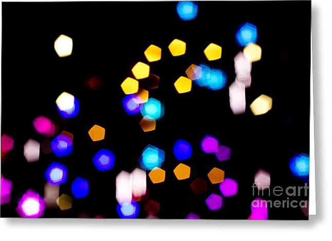 Abstract Colorful Pentagon Shaped Bokeh Lights Greeting Card