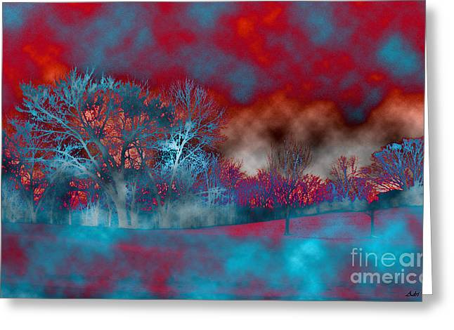 Abstract Colorful Snow Day Greeting Card by Minding My  Visions by Adri and Ray