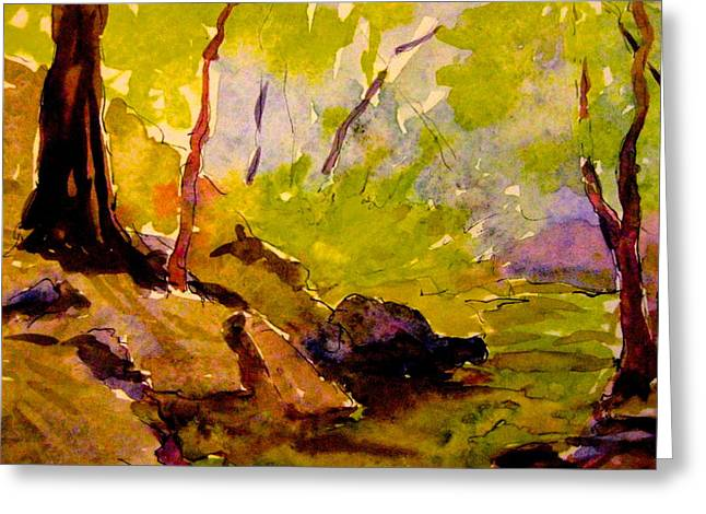 Abstract Creek In Woods Greeting Card