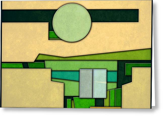 Arlington Greeting Cards - Abstract Cubist Three Greeting Card by Gary Grayson