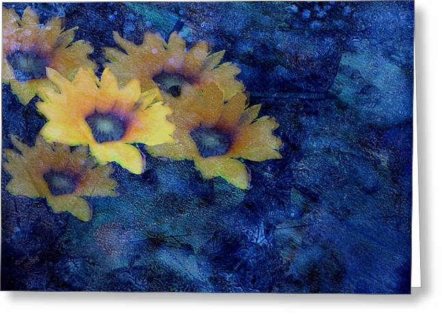 Abstract Daisies On Blue Greeting Card by Ann Powell