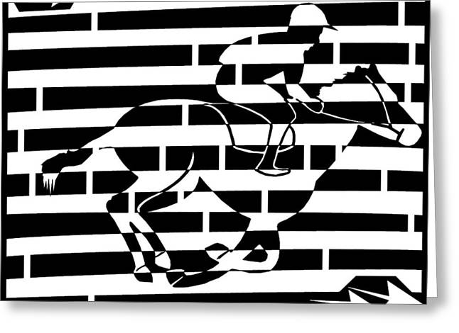 Abstract Distortion Boy On A Horse Maze  Greeting Card