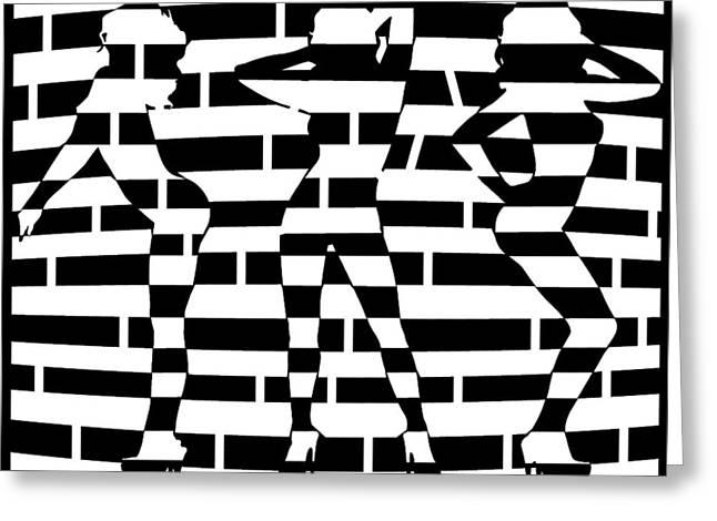 Abstract Distortion Dancin Girls Maze  Greeting Card by Yonatan Frimer Maze Artist