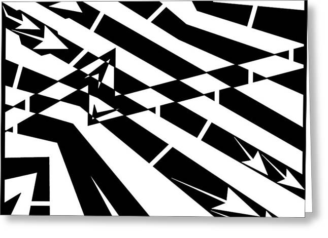 Abstract Distortion Fuel Line Maze Greeting Card by Yonatan Frimer Maze Artist