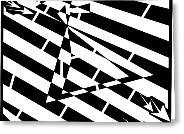 Abstract Distortion Hour-glass Maze  Greeting Card by Yonatan Frimer Maze Artist