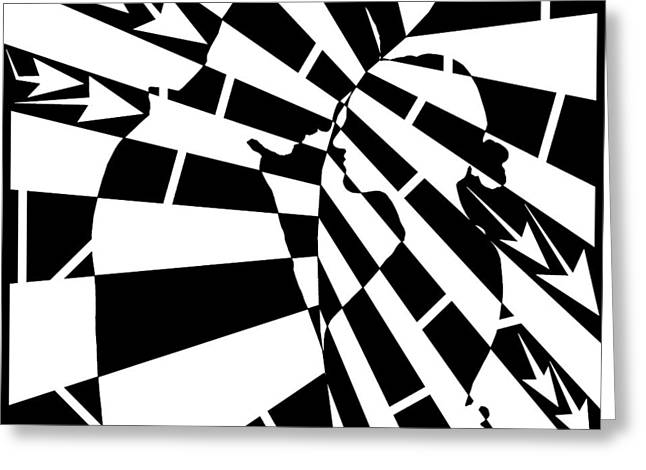Abstract Distortion Human Touch Maze  Greeting Card by Yonatan Frimer Maze Artist