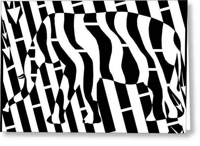 Abstract Distortion Invisible Elephant In The Room Maze  Greeting Card by Yonatan Frimer Maze Artist