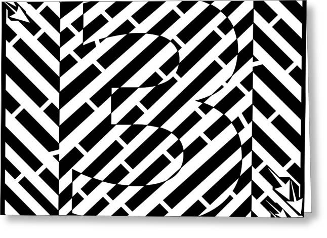 Abstract Distortion Number Three Maze  Greeting Card