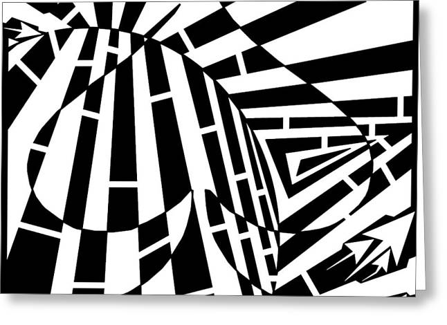 Abstract Distortion Spade Maze  Greeting Card