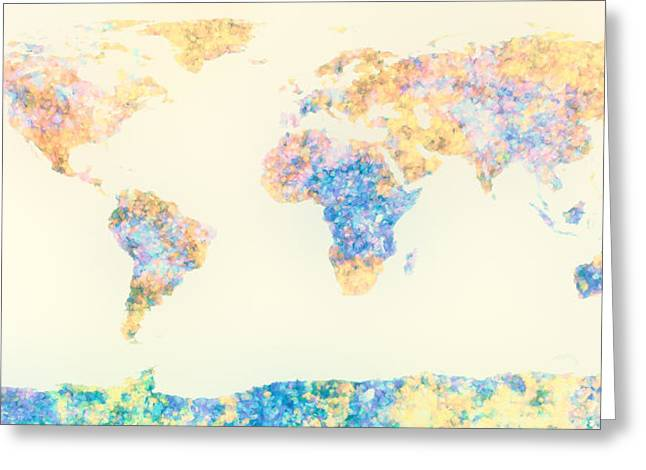 Abstract Earth Map 2 Greeting Card by Bob Orsillo