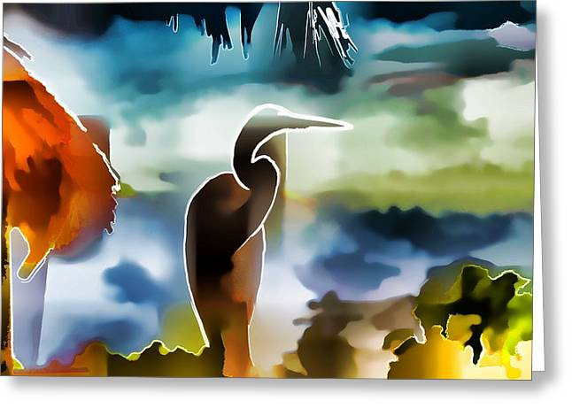 Abstract Egret Profile Greeting Card