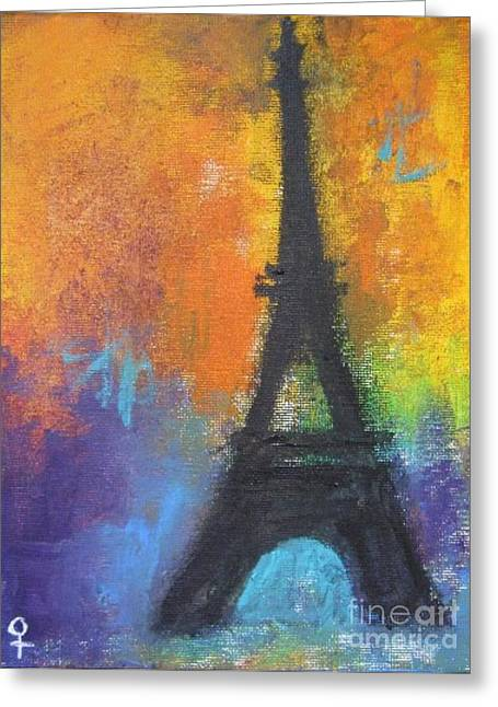 Abstract Eiffel Tower Greeting Card by Venus