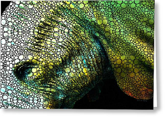 Abstract Elephant - Colorful Stone Rock'd Art By Sharon Cummings Greeting Card by Sharon Cummings