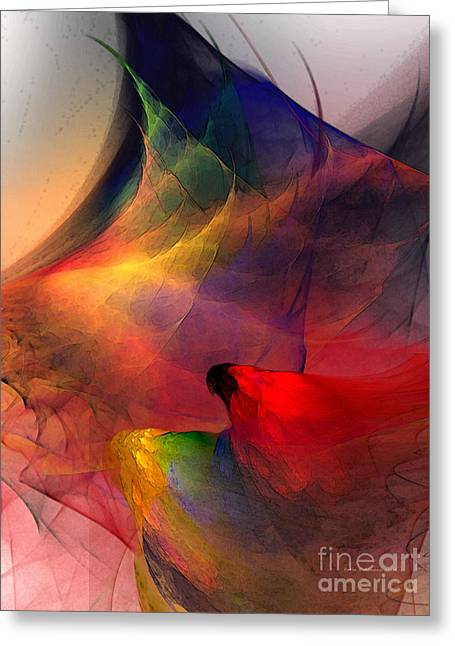 Abstract Exotic Birds Greeting Card by Karin Kuhlmann