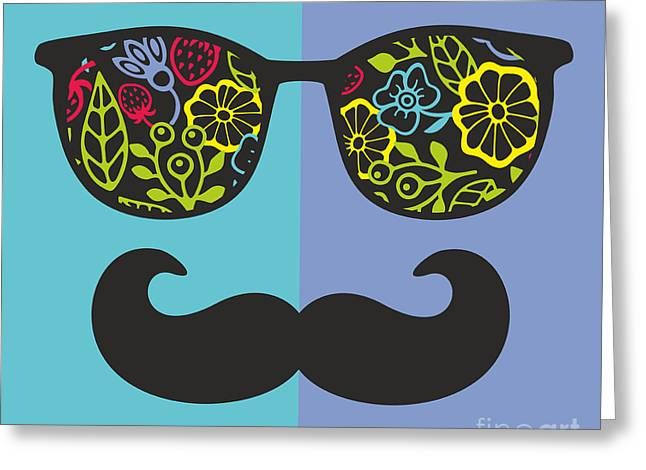 Abstract Face Of Man In Glasses. Vector Greeting Card