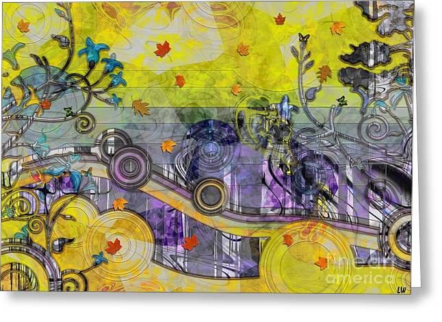 Abstract - Falling Leaves Greeting Card by Liane Wright