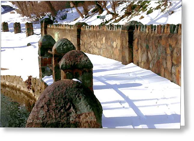 Abstract - Fences At Illicks Mill Bethlehem Pa Greeting Card by Jacqueline M Lewis