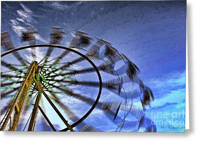 Abstract Ferris Wheel Greeting Card by Linda Blair
