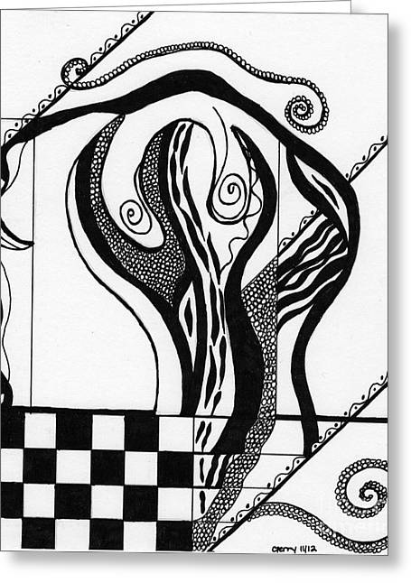 Abstract Figure In Black And White 2 Greeting Card