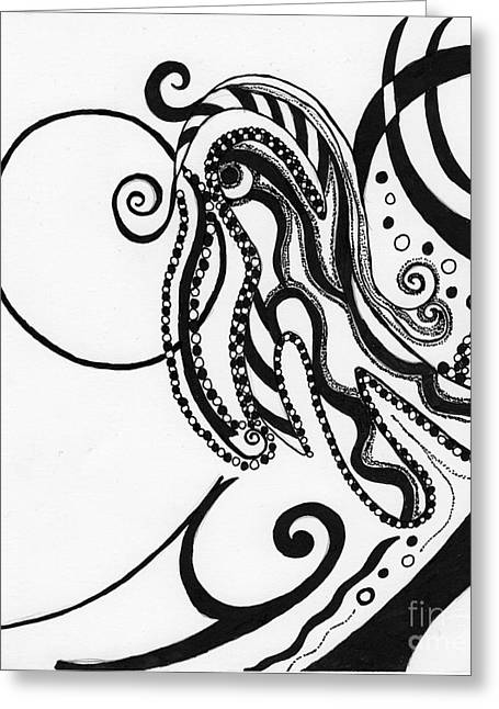 Abstract Figure In Black Greeting Card