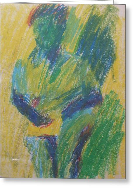 Abstract Figure In Green Blue And Yellow Greeting Card