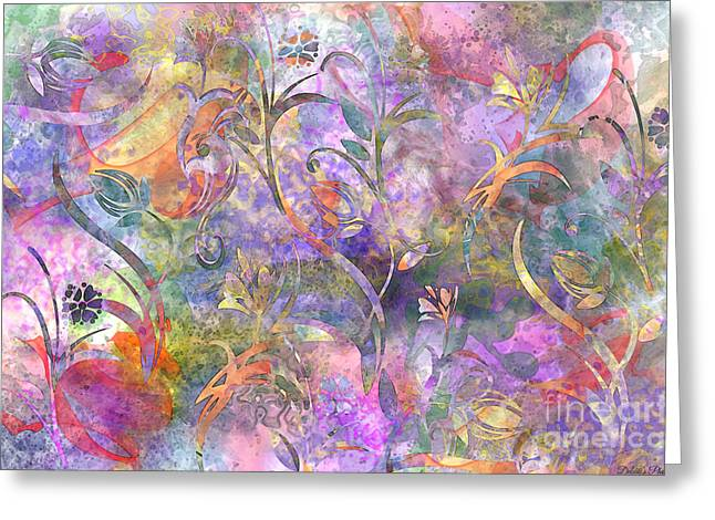 Abstract Floral Designe  Greeting Card by Debbie Portwood