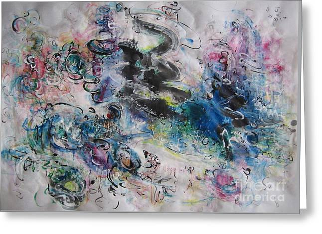 Abstract Flower Field Painting Blue Pink Green Purple Black Landscape Painting Modern Acrylic Pastel Greeting Card by Seon-Jeong Kim