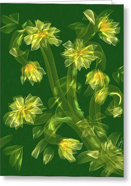 Abstract Flower Field Greeting Card by Veronica Minozzi