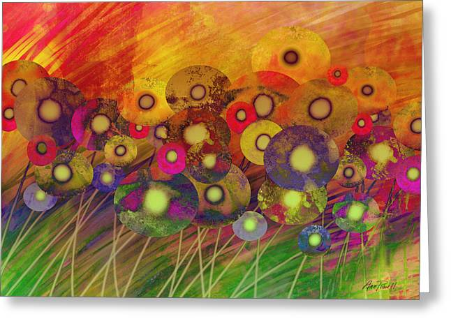 Abstract Flower Garden Fantasy - Abstract Art Greeting Card