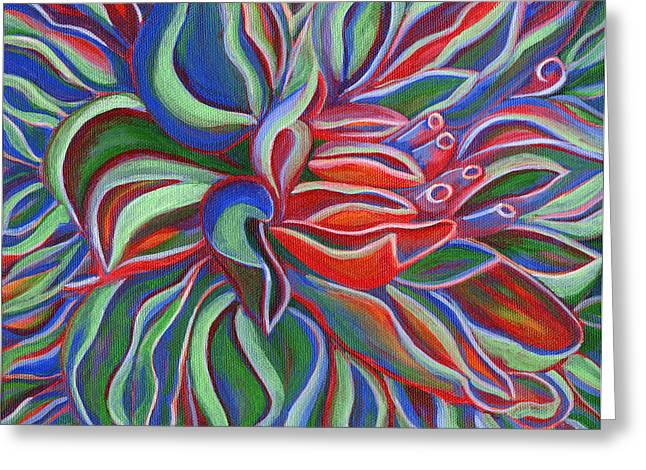 Abstract Flower Greeting Card by Janice Dunbar