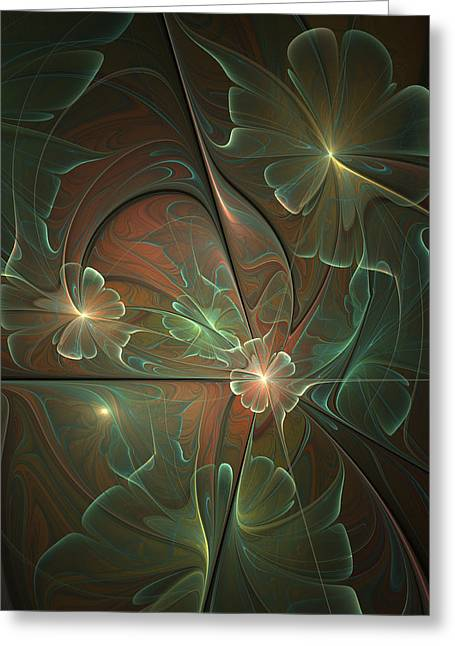 Abstract Flowers Fantasy Fractal Greeting Card