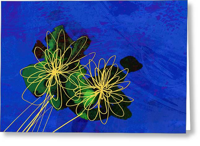 Abstract Flowers On Blue Greeting Card by Ann Powell