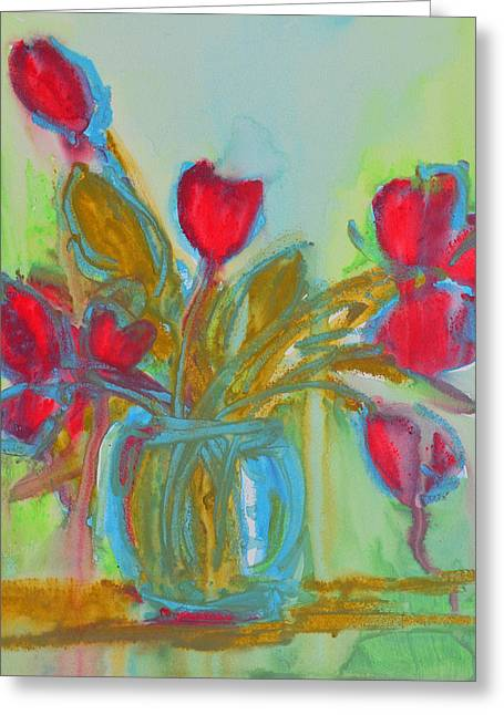 Abstract Flowers Greeting Card by Patricia Awapara