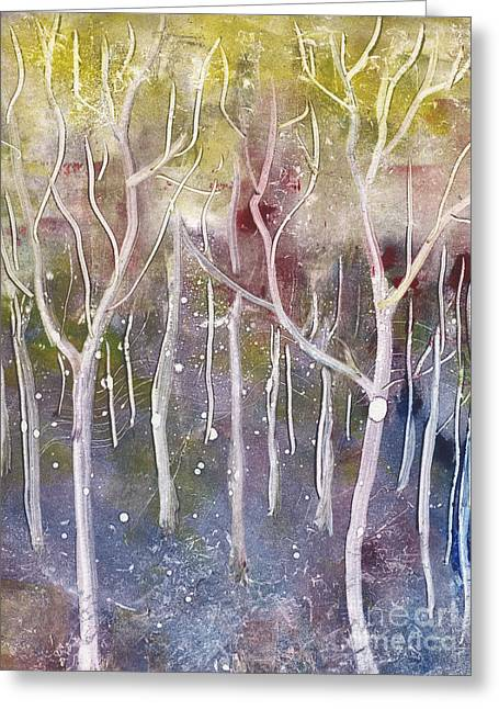Abstract Forest Greeting Card by Suzette Broad