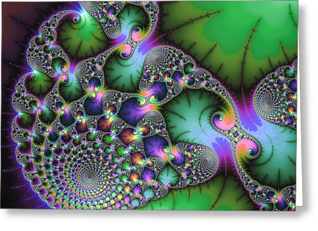Abstract Fractal Art Green Purple Jewel Colors Square Format Greeting Card