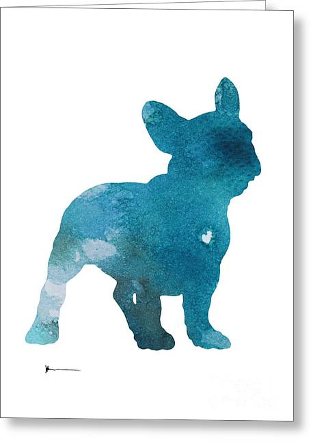 Abstract French Bulldog Silhouette Watercolor Art Print Painting Greeting Card by Joanna Szmerdt
