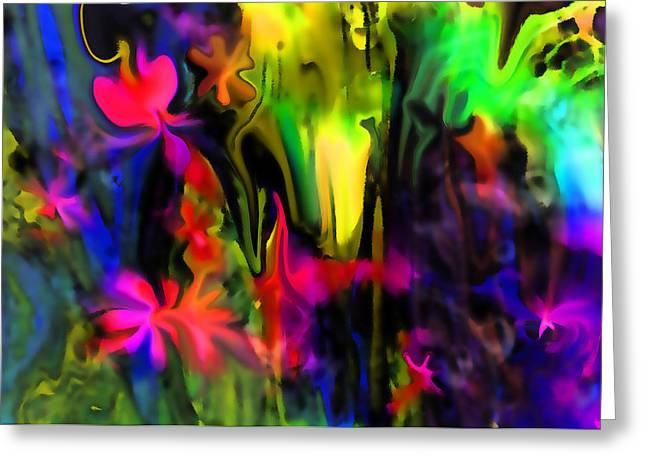 Abstract Garden Of Flowers Greeting Card by Sherri  Of Palm Springs