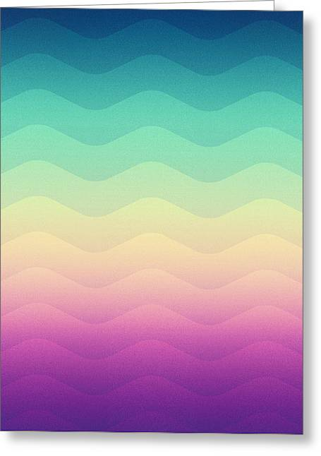Abstract Geometric Candy Rainbow Waves Pattern Multi Color Greeting Card by Philipp Rietz