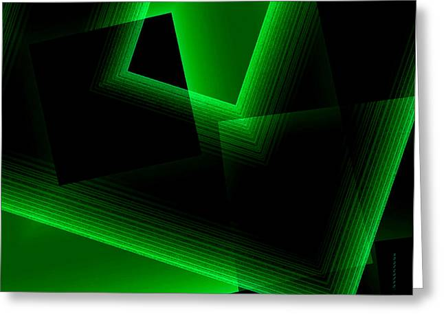 Abstract Geometry Green On Green In Digital Art Greeting Card by Mario Perez