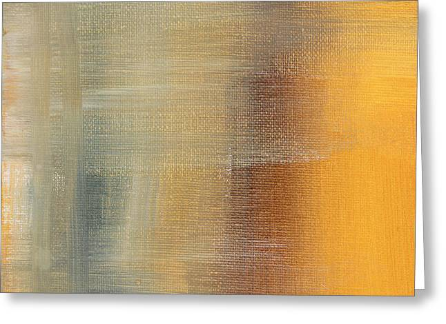 Abstract Golden Yellow Gray Contemporary Trendy Painting Fluid Gold Abstract I By Madart Studios Greeting Card by Megan Duncanson