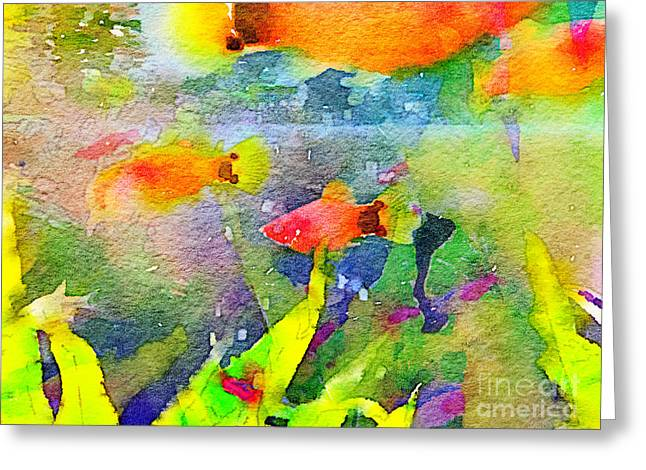 Abstract Goldfish Fish Bowl Aquarium Watercolor 1 Greeting Card