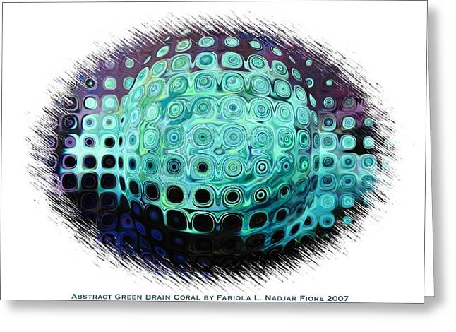 Abstract Green Brain Coral Greeting Card by Fabiola L Nadjar Fiore